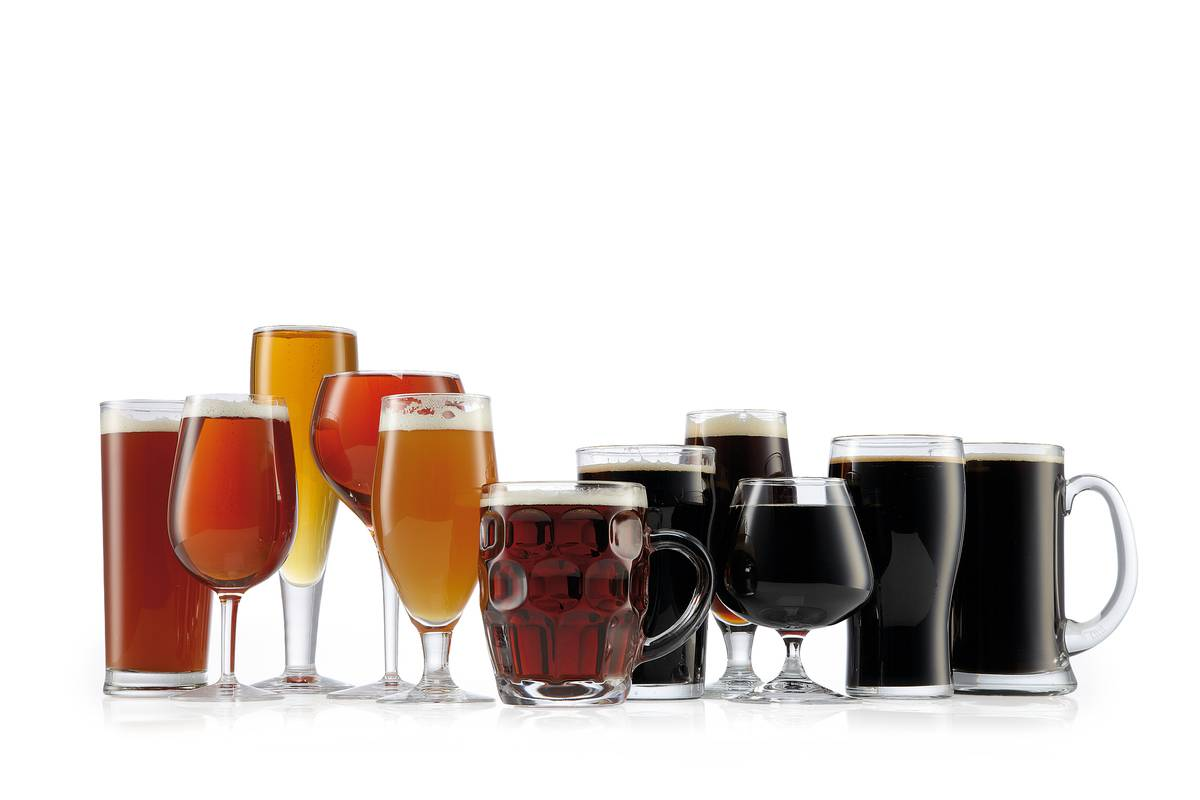 different types of beer in variety of glasses