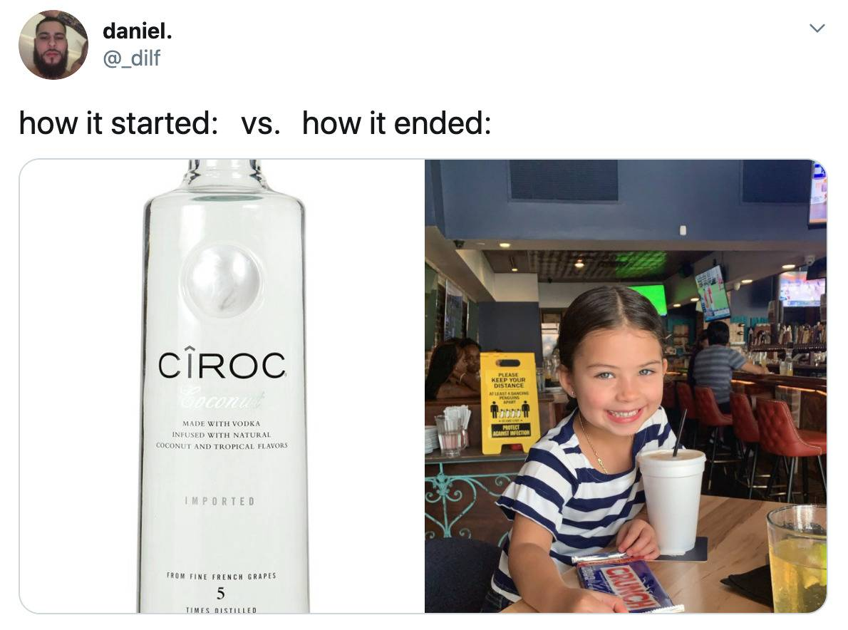 how it started (bottle of ciroc) vs. how it ended: (a child)