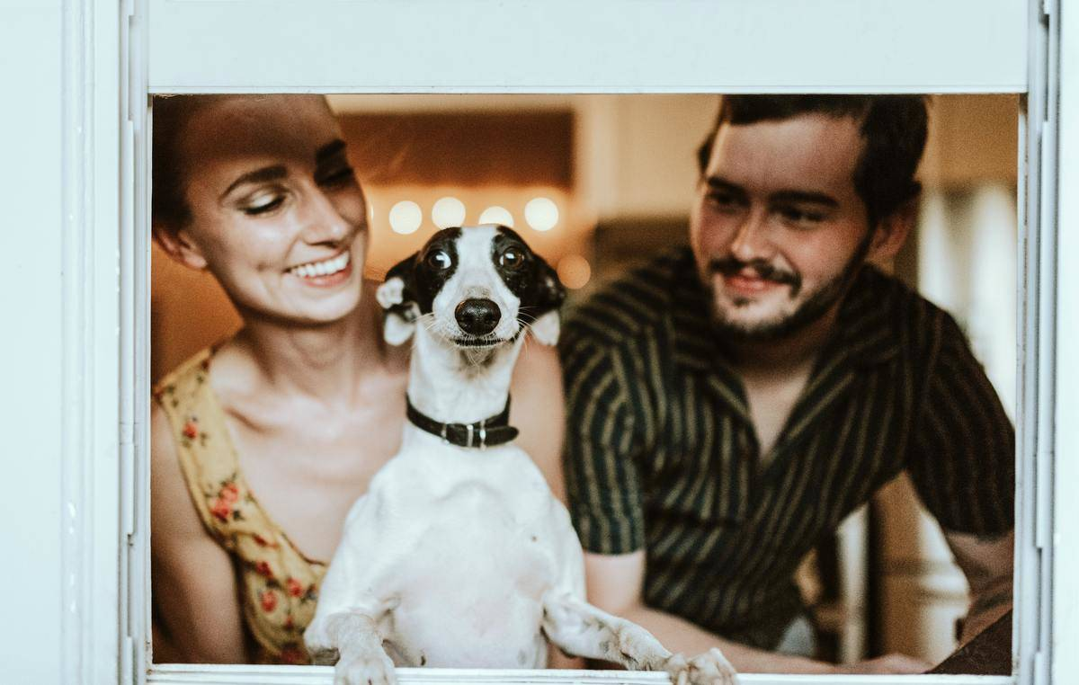 couple hanging out with the dog