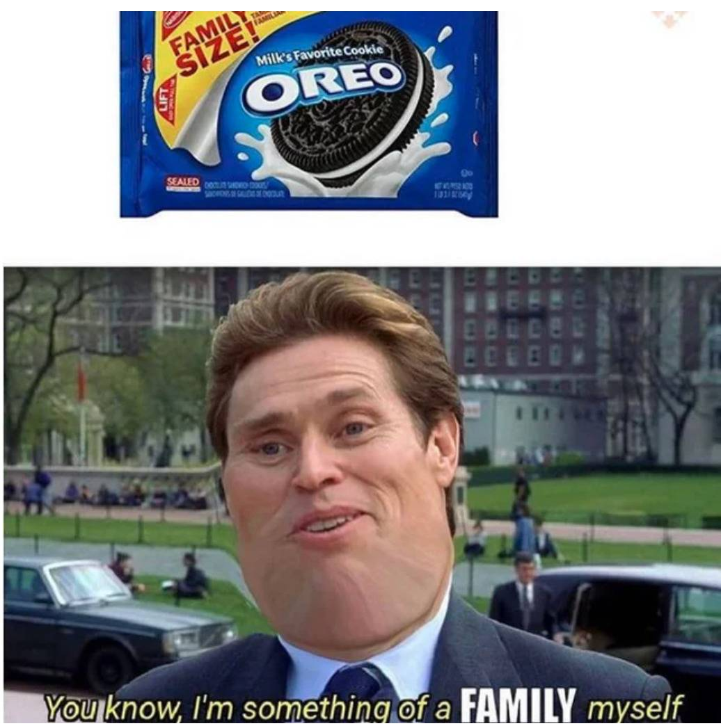 family size oreo pack with meme of person saying,