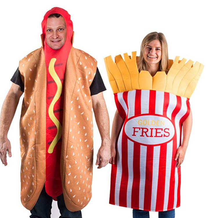 man dressed like a hotdog and woman dressed like french fries