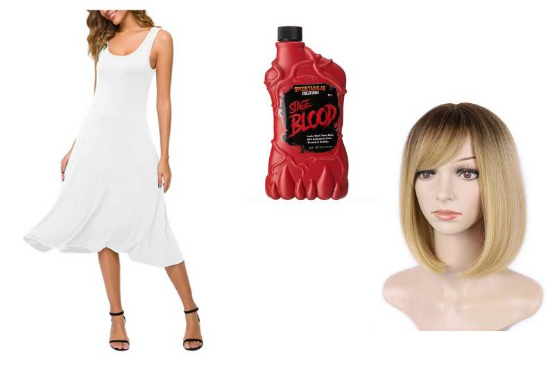 white dress, blonde bob wig, and bottle of stage blood