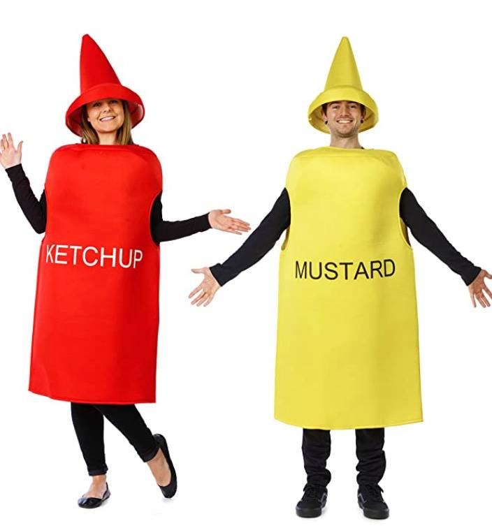 man and woman dressed as mustard and ketchup bottles respectively