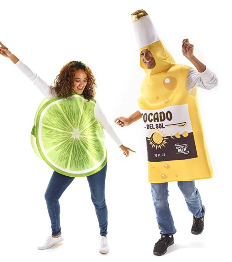 woman dressed as lime slice and man dressed as bottle of beer