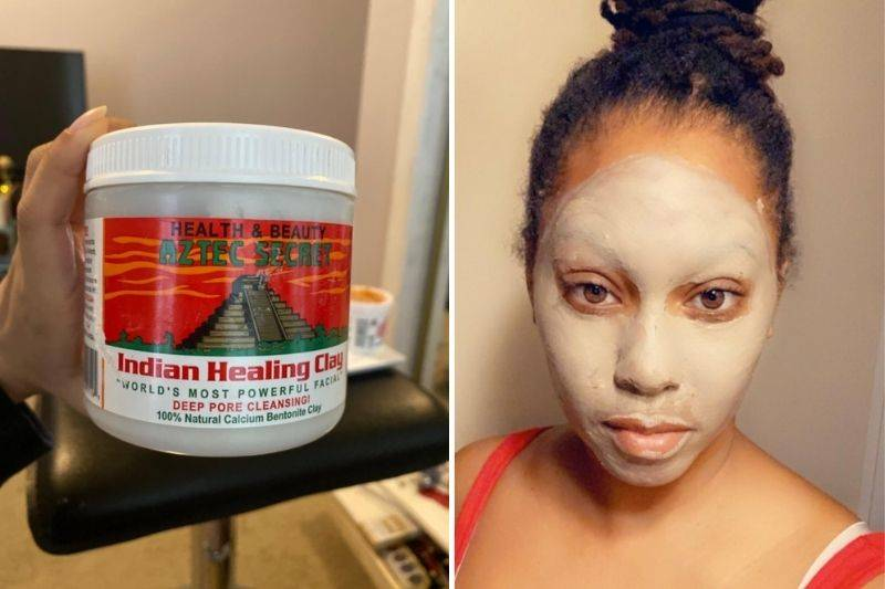 a picture of someone wearing the aztec clay mask