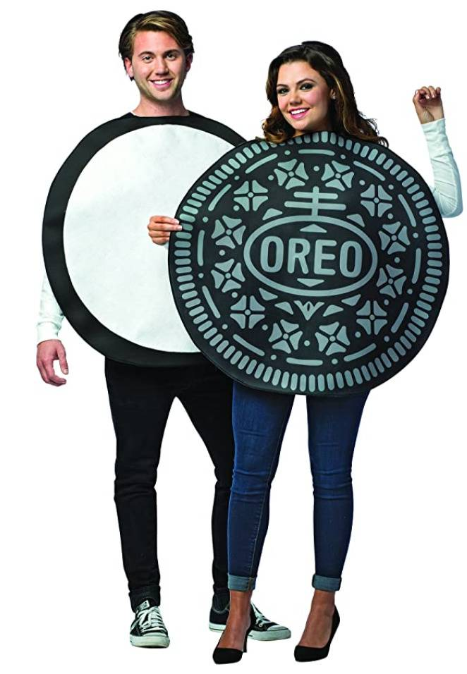 woman and man dressed as two halves of an oreo cookie