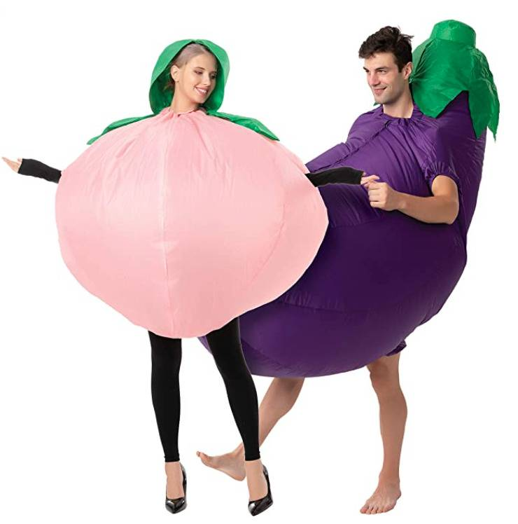 woman in peach costume and man in eggplant costume
