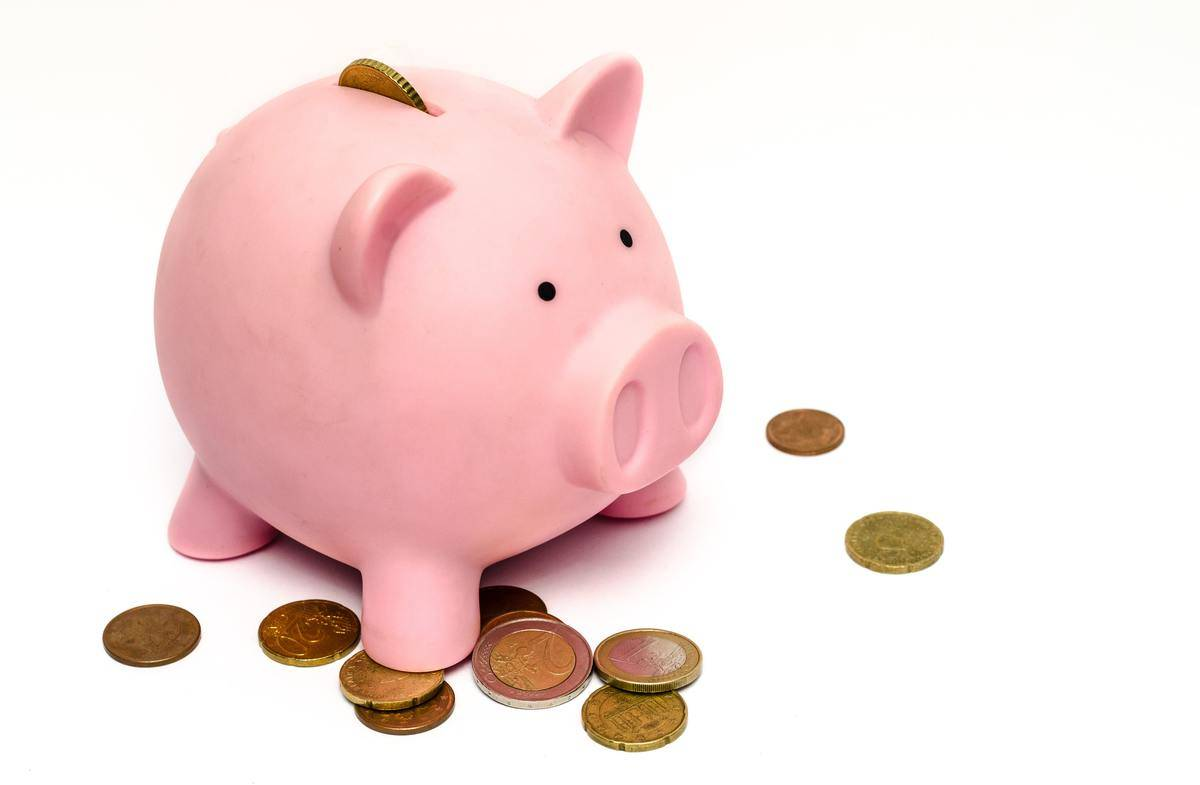 piggybank surrounded by coins