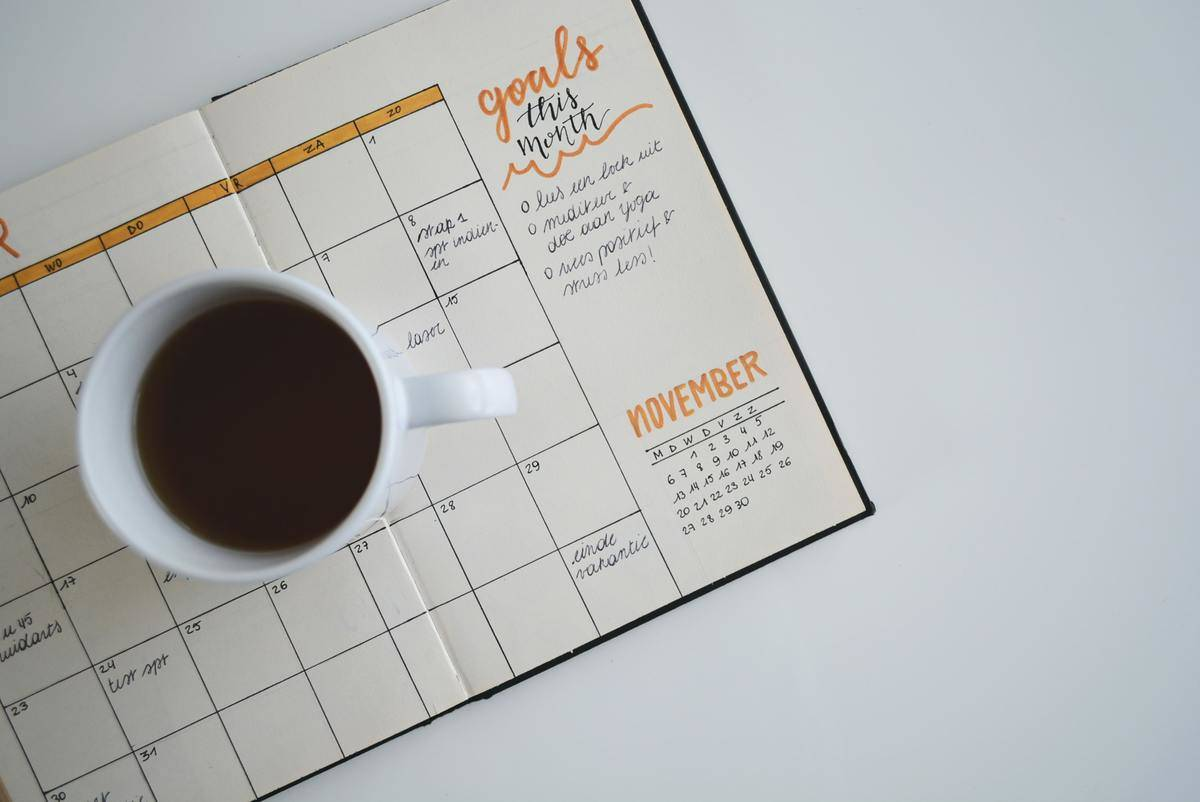 schedule with coffee