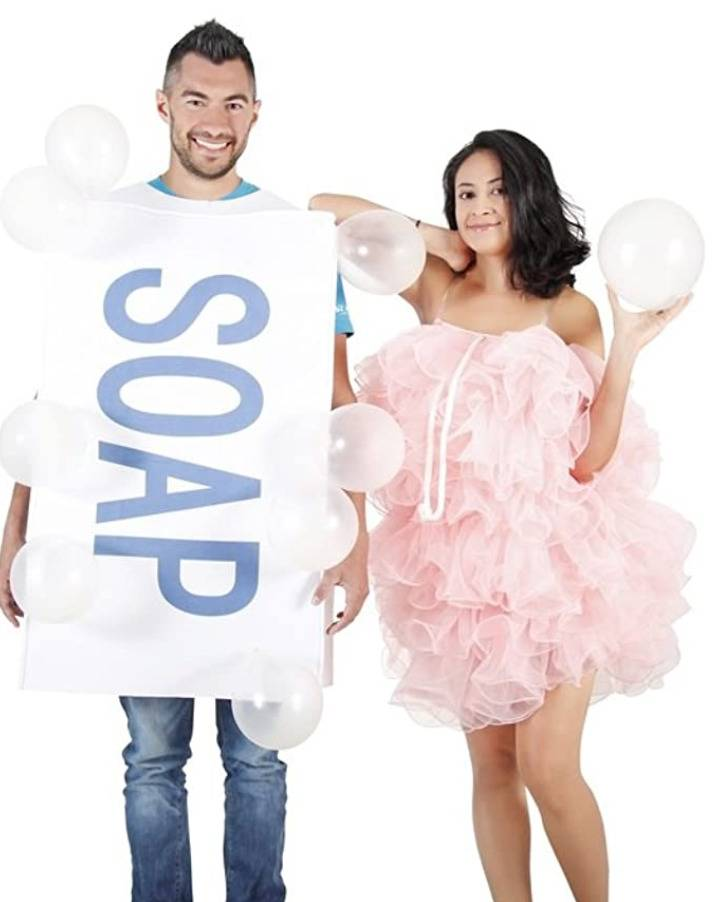 man dressed as bar of soap and woman dressed as loofa