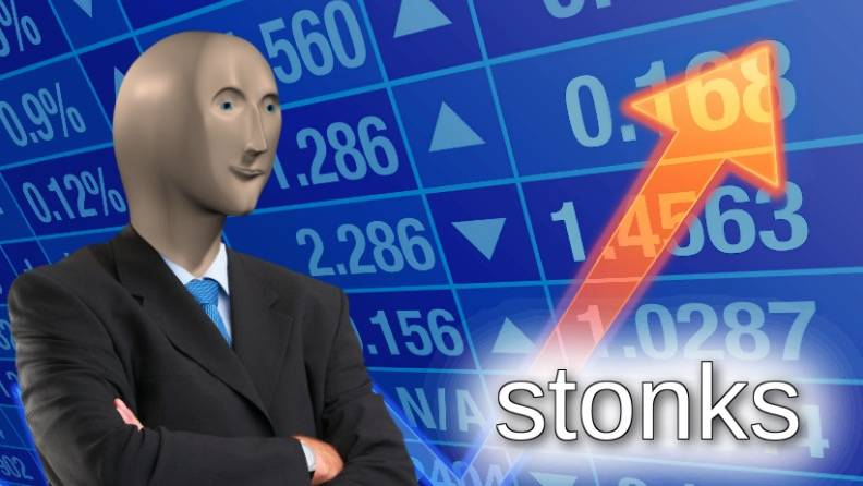 stonks meme with humanoid chARACTER IN FROnt of stocks chart