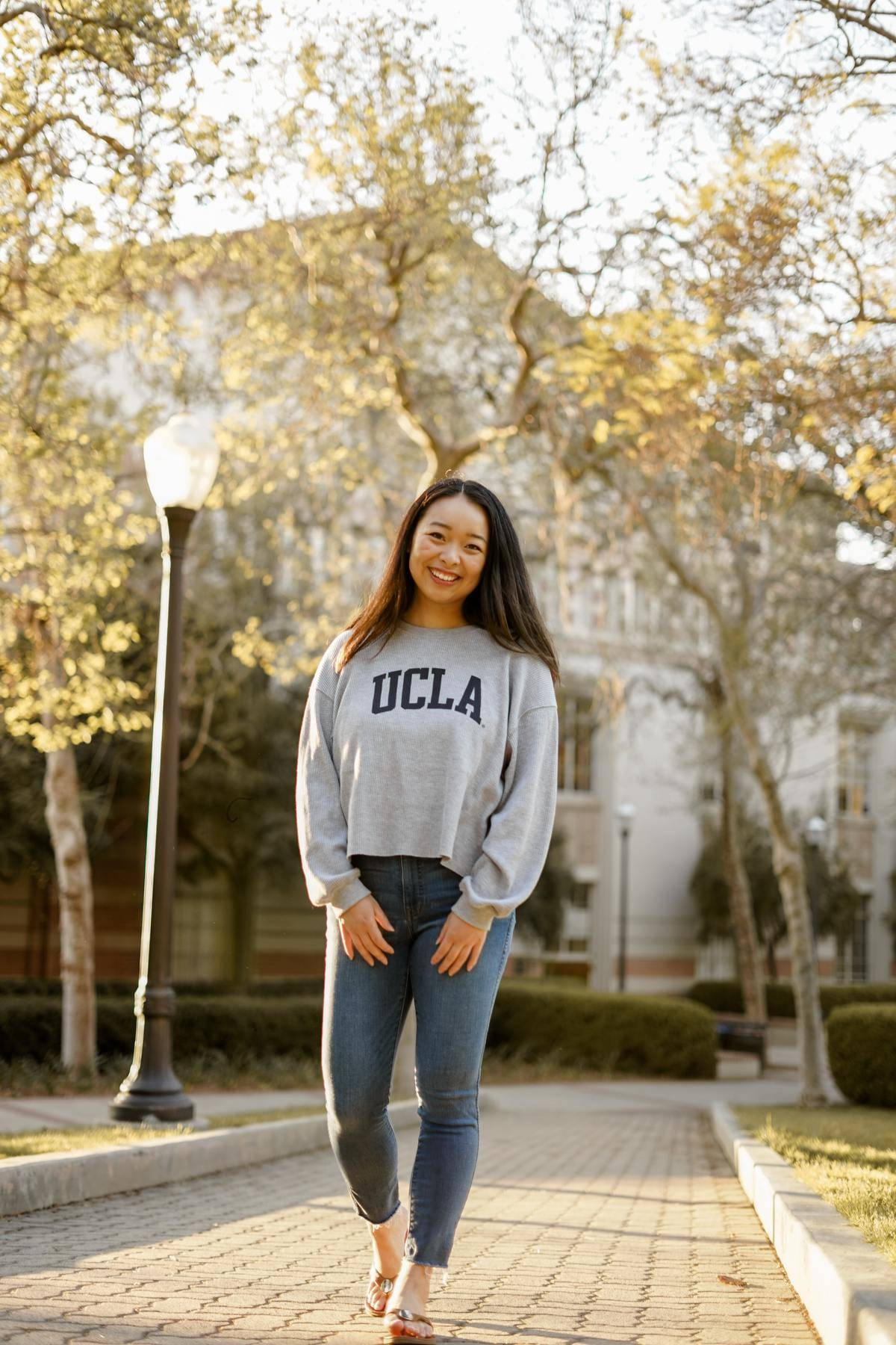 woman in a UCLA sweater