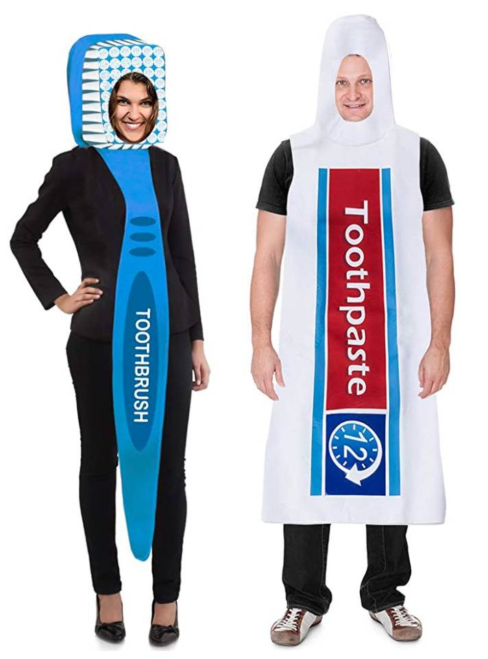 woman dressed as toothbrush and man dressed as toothpaste tube