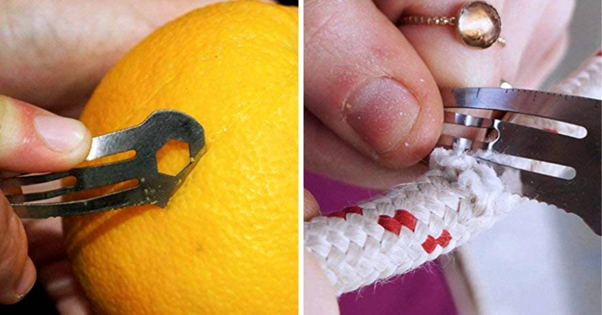 using clip to slice orange peel and cut rope