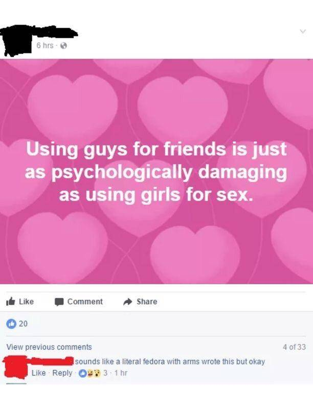 using guys as friends is damaging