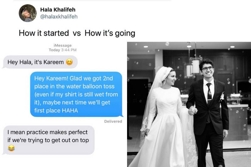 How it started: two texting about a water balloon toss they were partnered for vs. How it's going: wedding photo