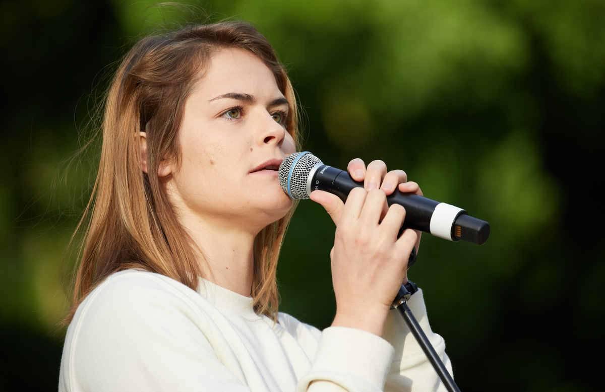 Swiss slam poet performs on stage