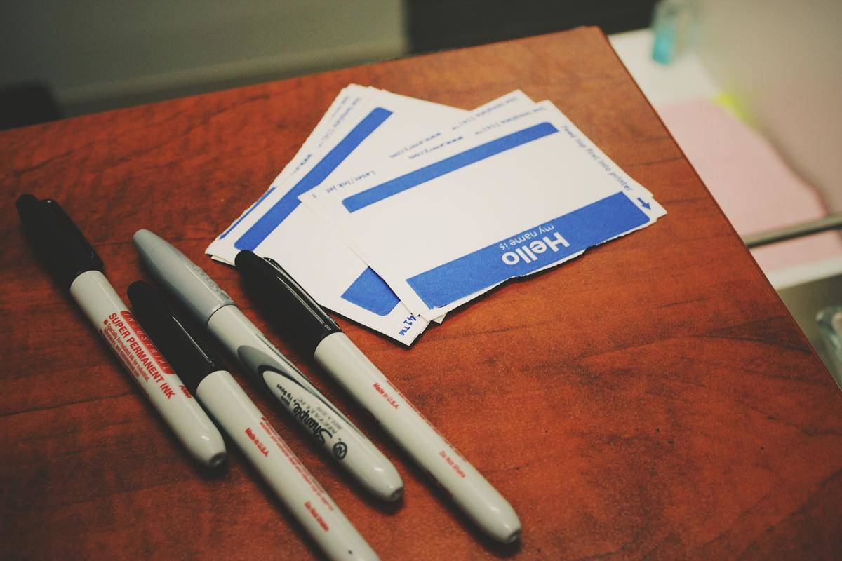 blank name tags and sharpies