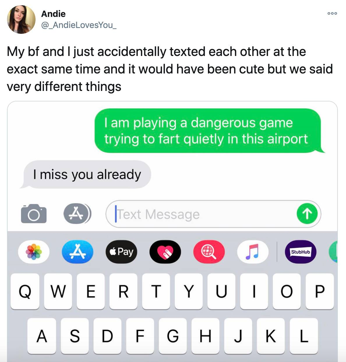boyfriend and girlfriend texted each other at the same time saying different things