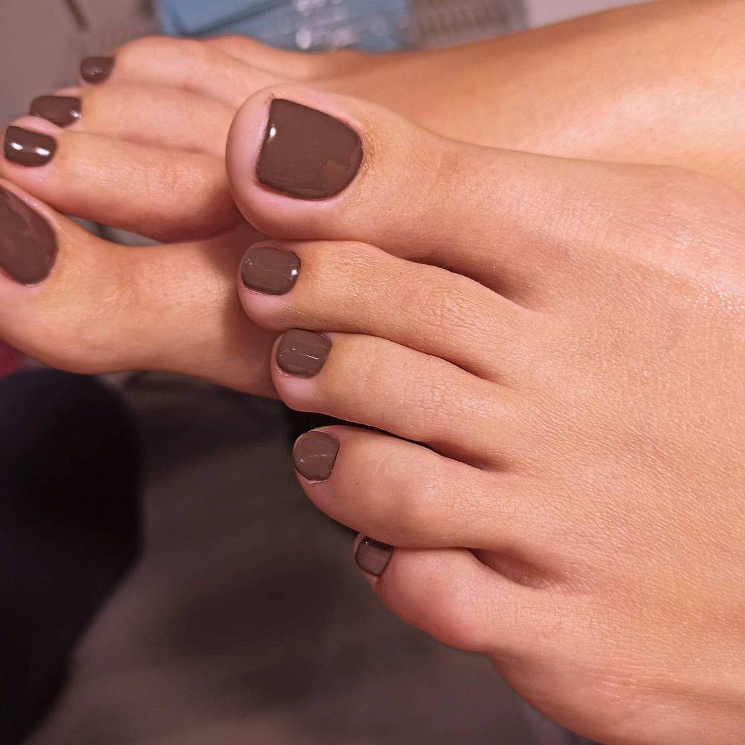 a woman after getting a pedicure