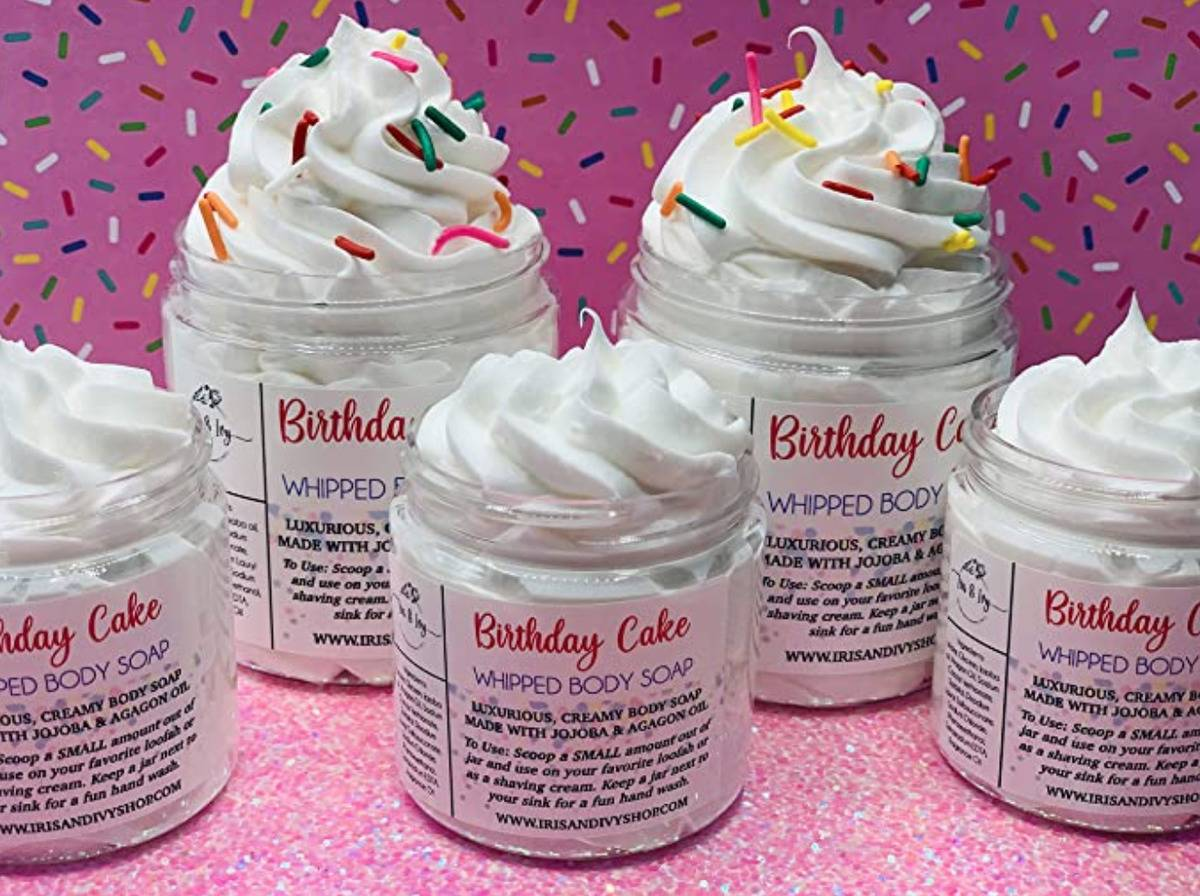 containers of body wash that is whipped and flavored like birthday cake