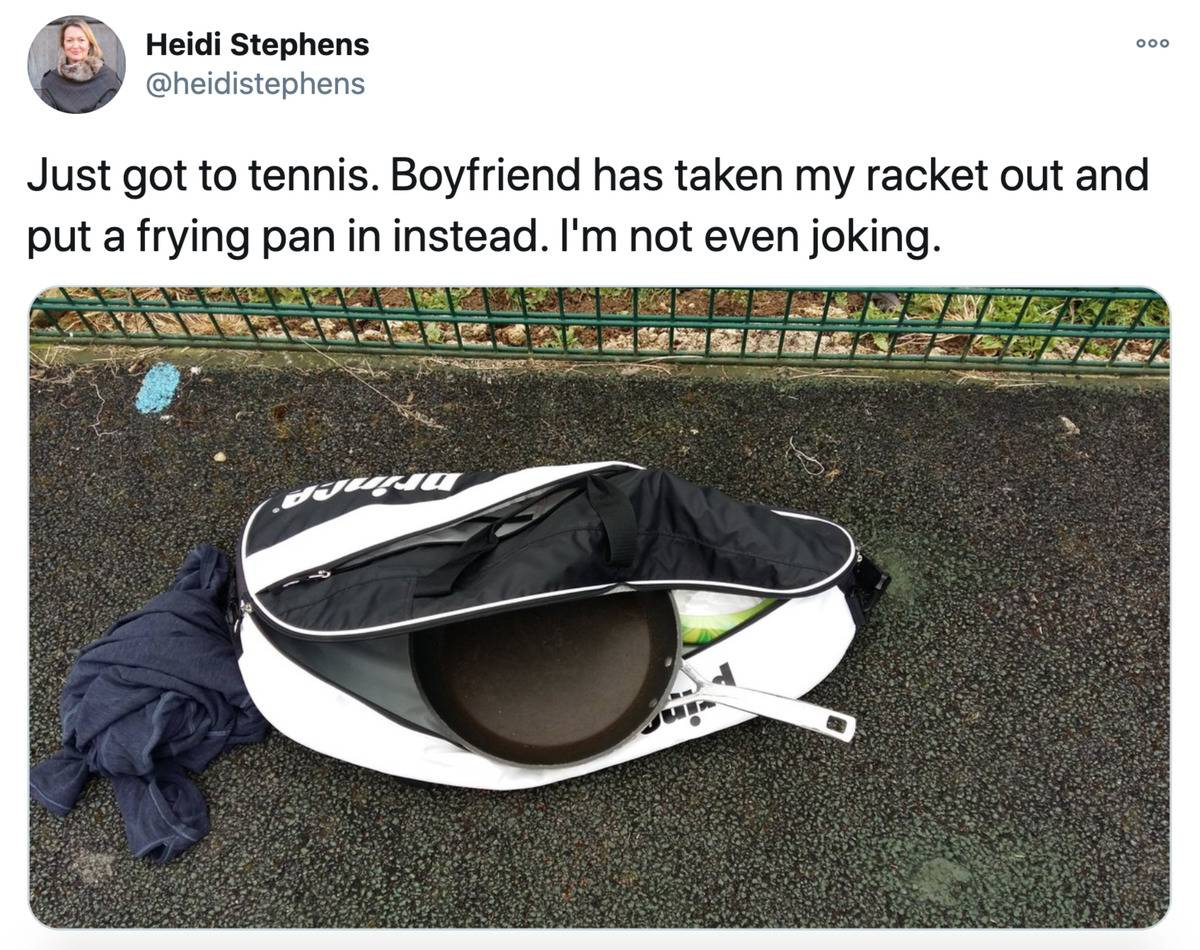 boyfriend packed a frying pan for his girlfriend instead of a tennis racket