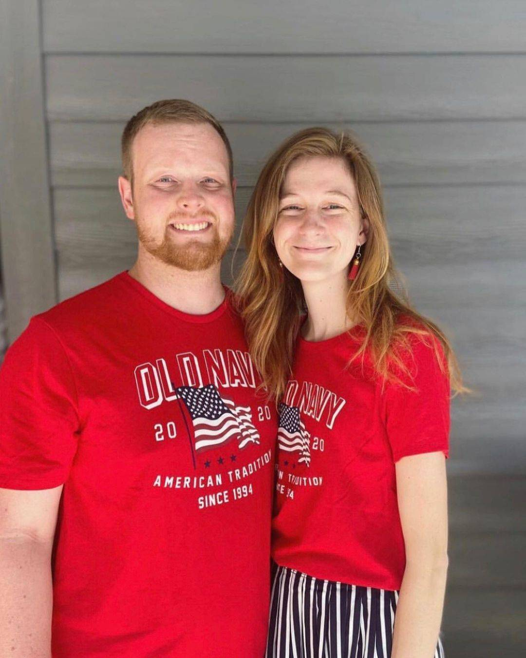 ginger hair couple in matching old navy shirts