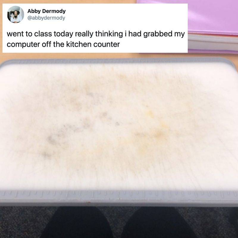 someone accidentally grabbed a cutting board to bring to class instead of their laptop