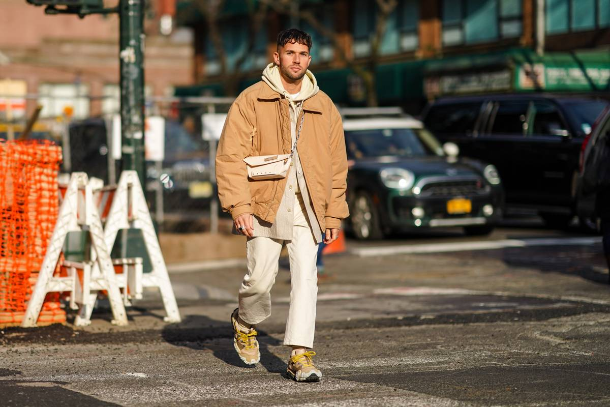 man wearing large jacket