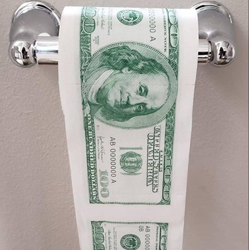 toilet paper that looks like money
