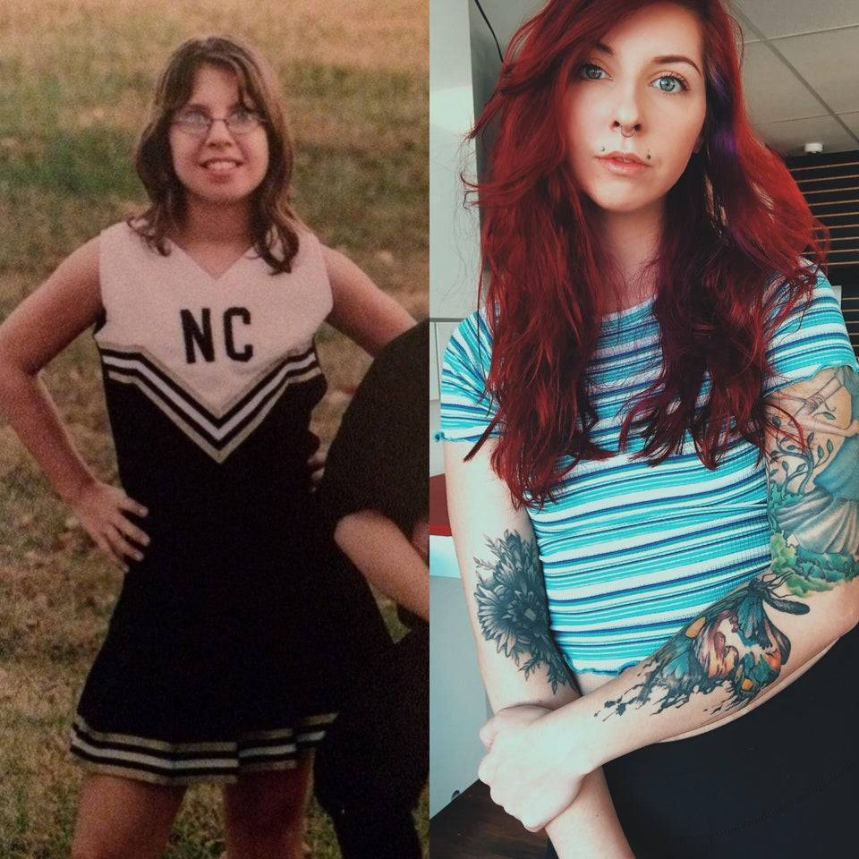 tattoos now and cheerleader when younger