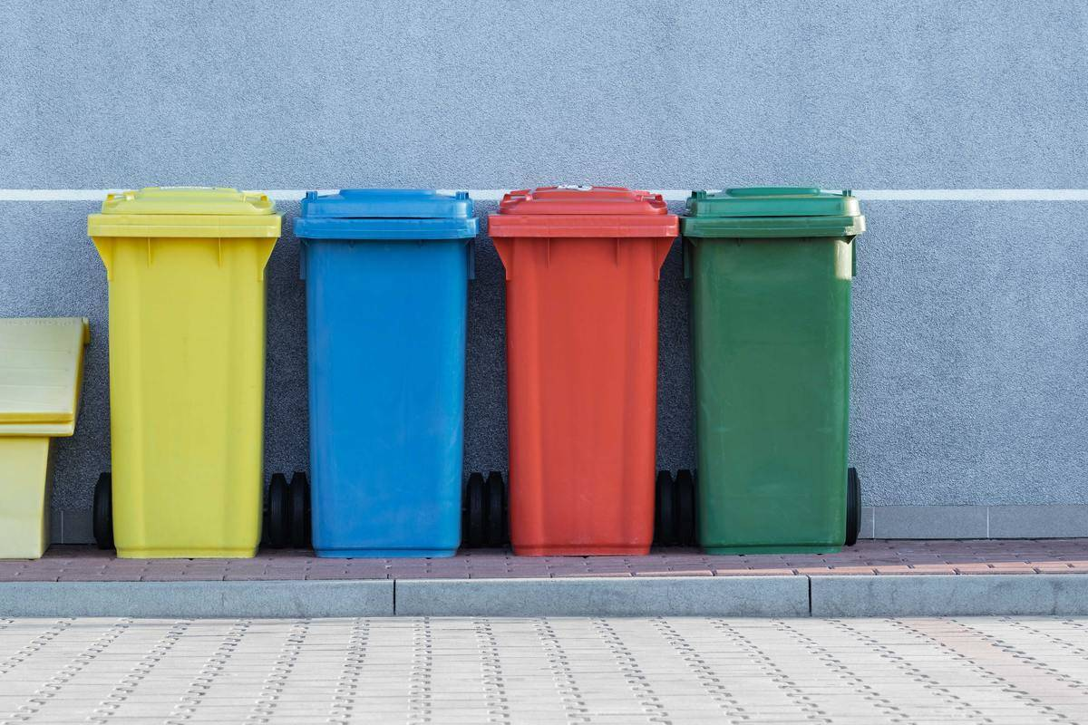 colorful trash bins lined up