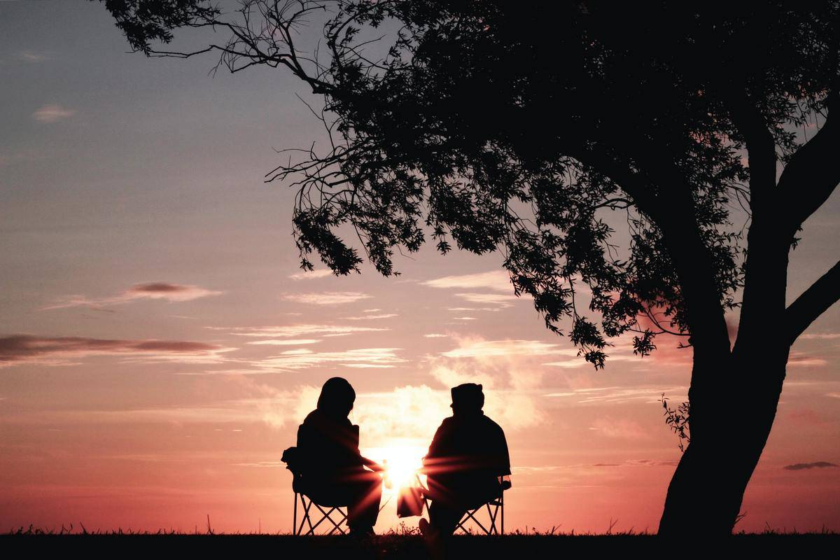 friends seated in chairs watching sunset