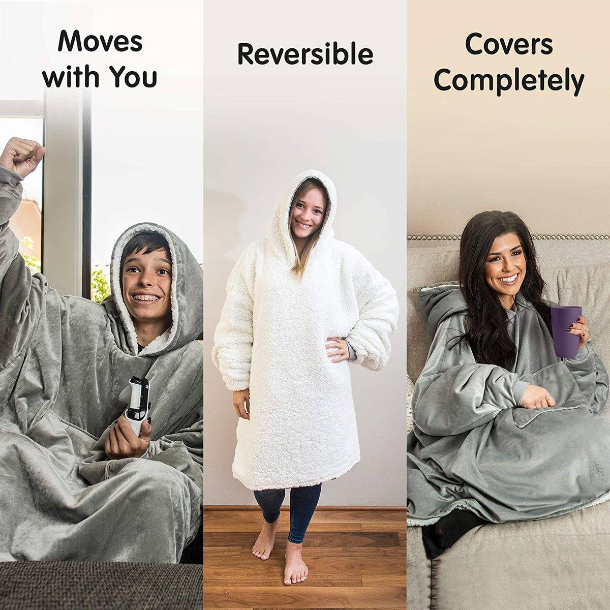 The Comfy Store's wearable sherpa blanket ad photo