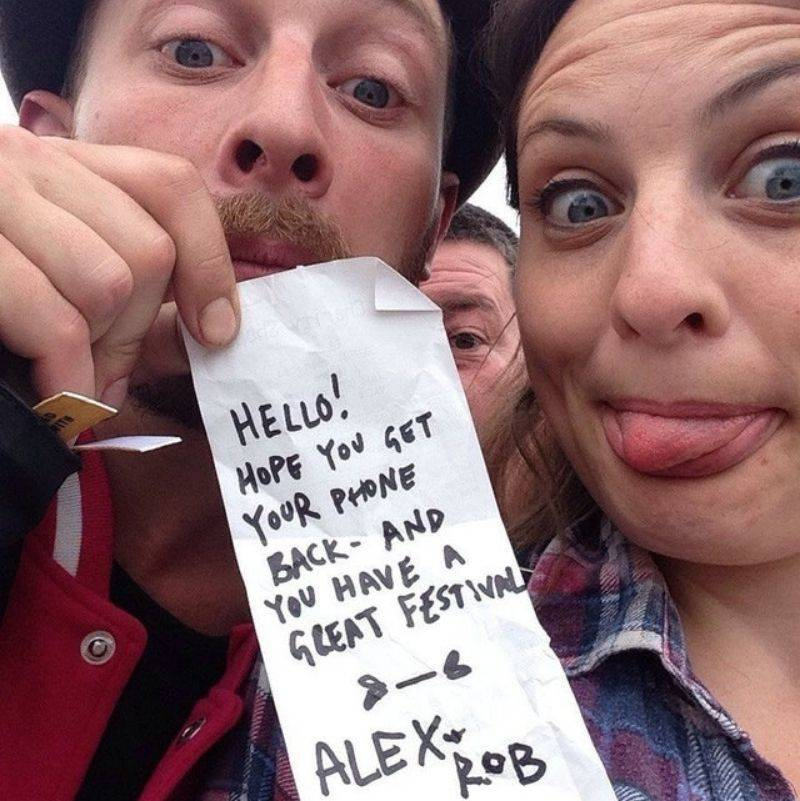 two people found someone's phone at a festival and took a funny picture of themselves before returning it