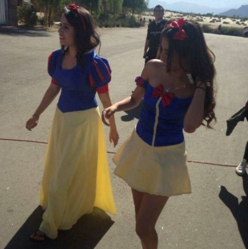 girls dressed up as the same thing for Halloween, with different takes