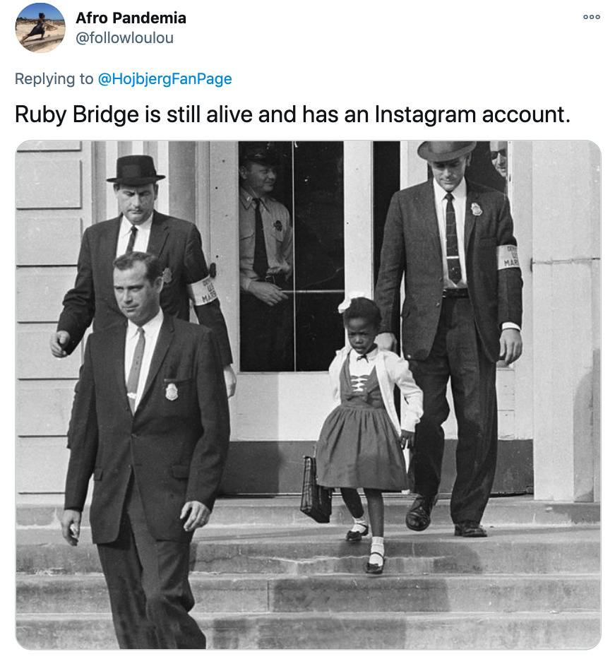 Tweet: Ruby Bridge is still alive and has an Instagram account