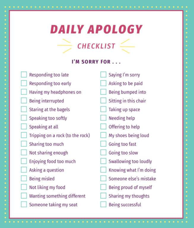daily apology checklist has