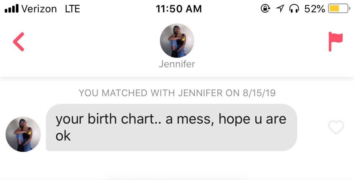 someone got a message on Tinder that says,