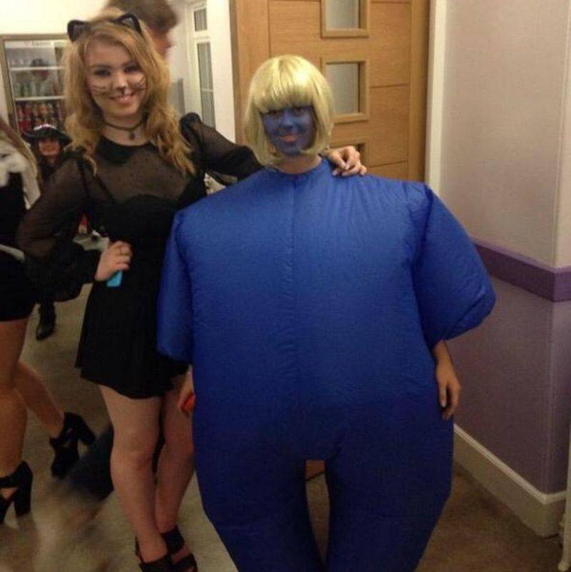 woman dressed up as a blueberry