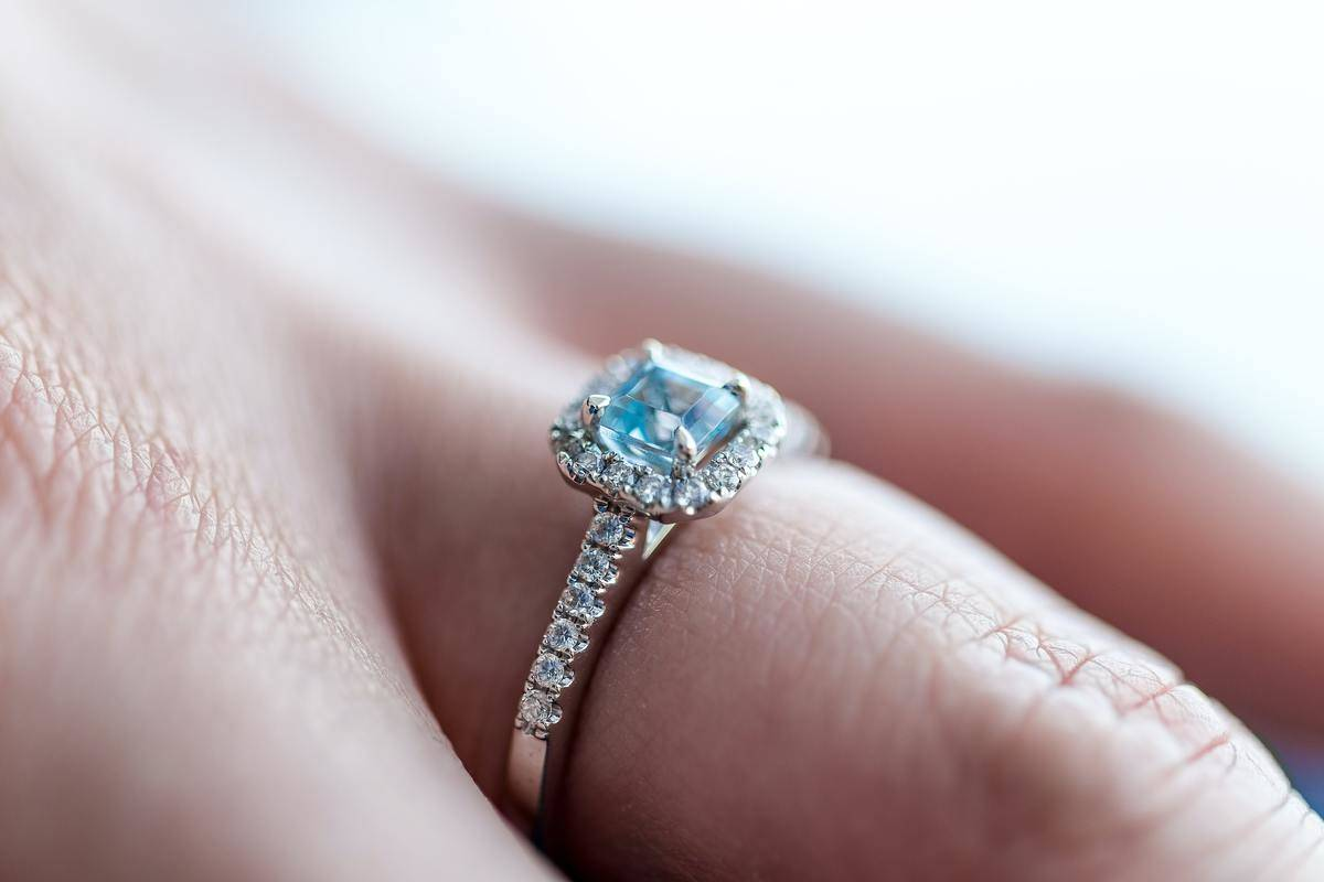 close up of engagement ring on finger