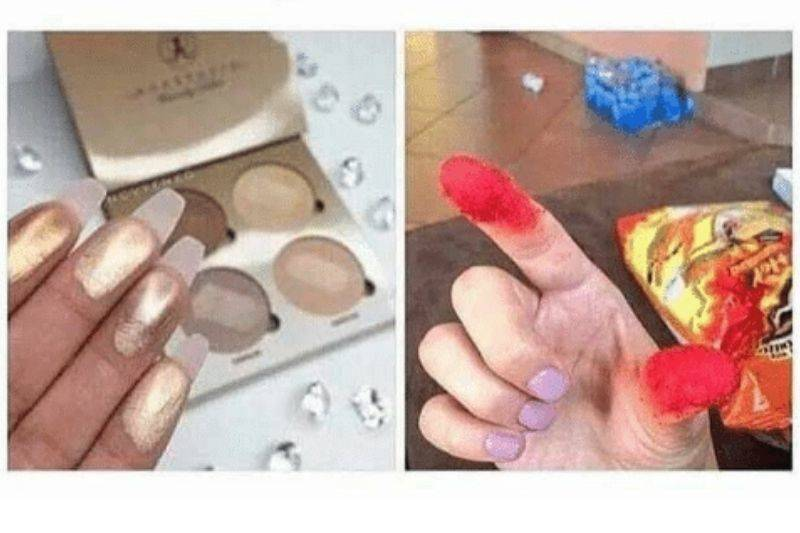 a woman with makeup on her fingers and one with cheese dust