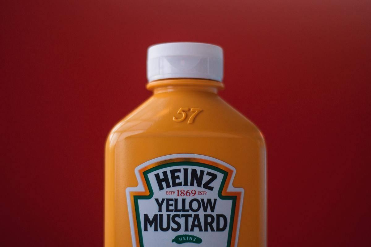 close up of heinz yellow mustard bottle