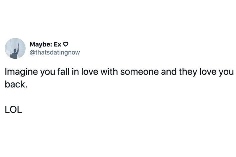 Tweet: Imagine you fall in love with someone and they love you back. LOL