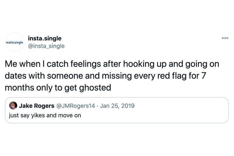 a tweet about just saying yikes and moving on from dating mistakes