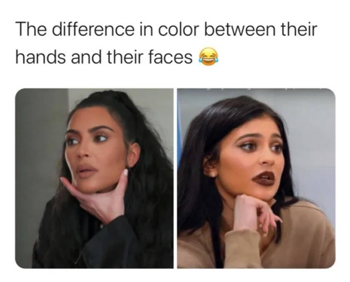 stills of Kim Kardashian and Kylie Jenner from Keeping Up With The Kardashians where their hands are much lighter than their faces