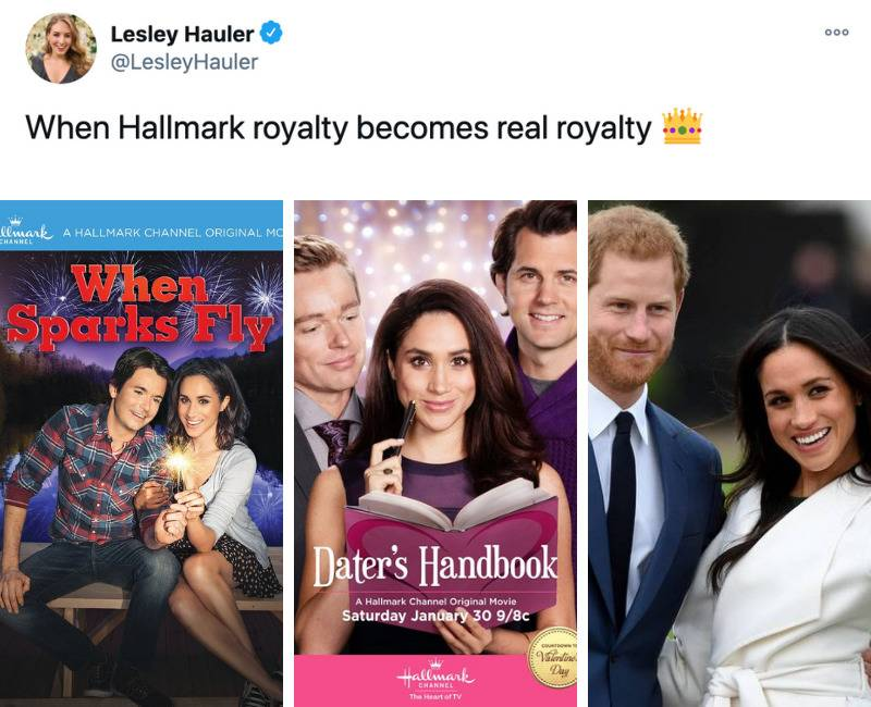 when Hallmark royalty becomes real royalty (photos of meghan markle on move posters then with harry)