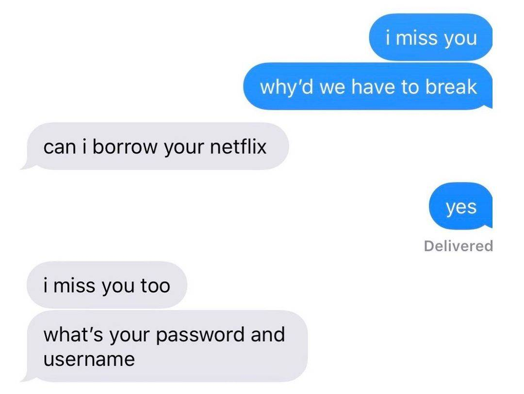someone asking their ex for their Netflix sign in info