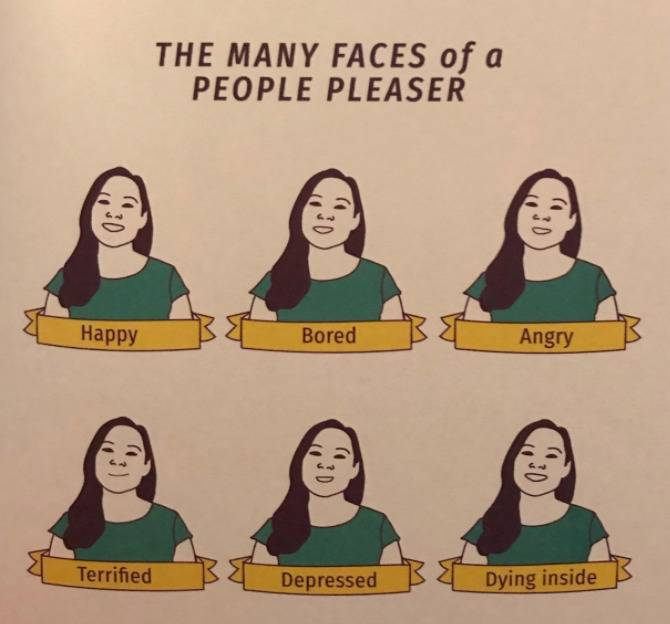 the many faces of a people pleaser: woman smiling for happy, bored, angry, terrified, depressed, and dying inside