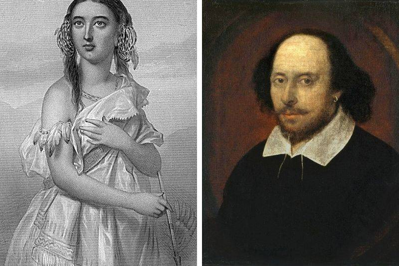 Portraits of Shakespeare and Pocahontas